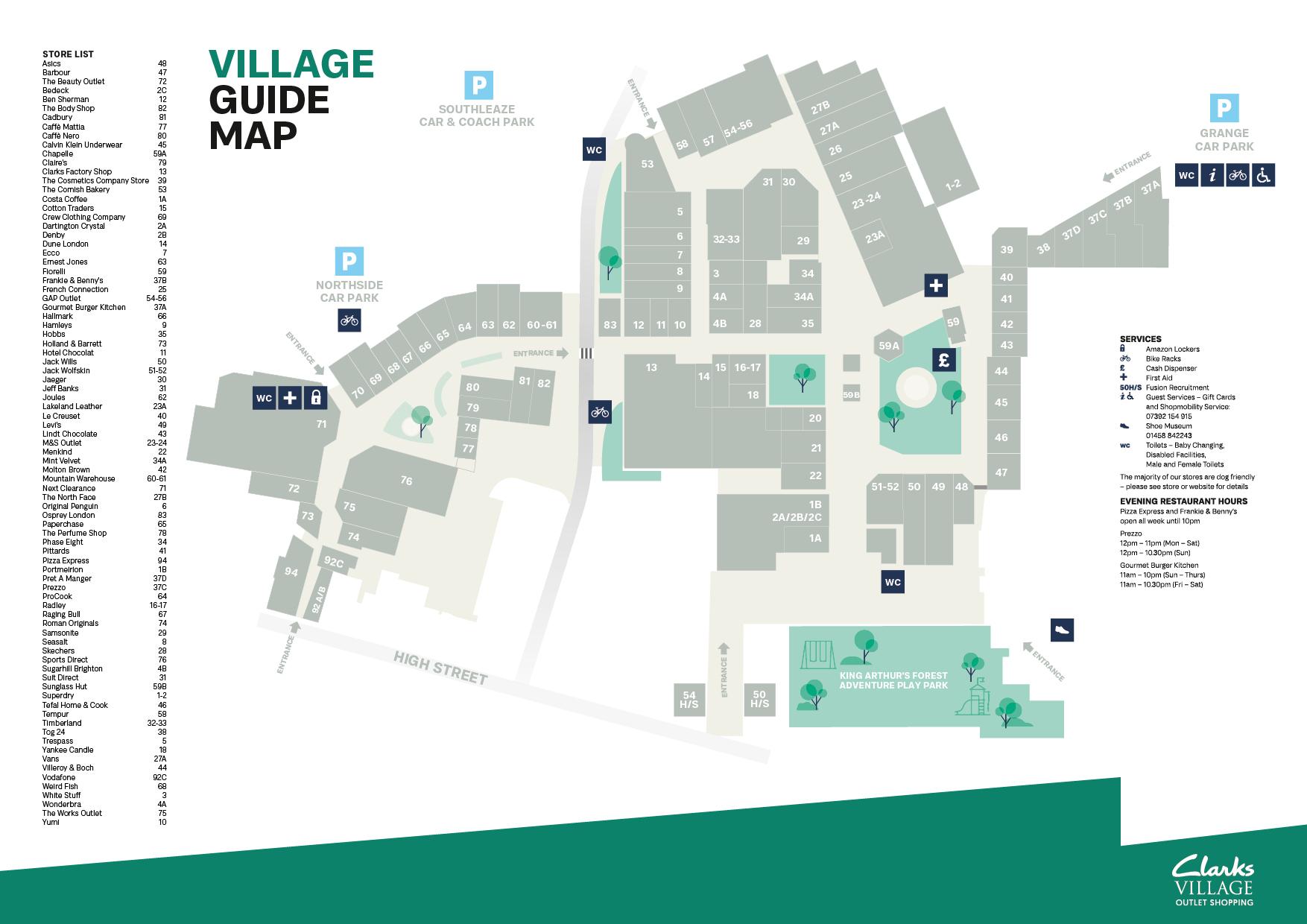 Clarks Village Map