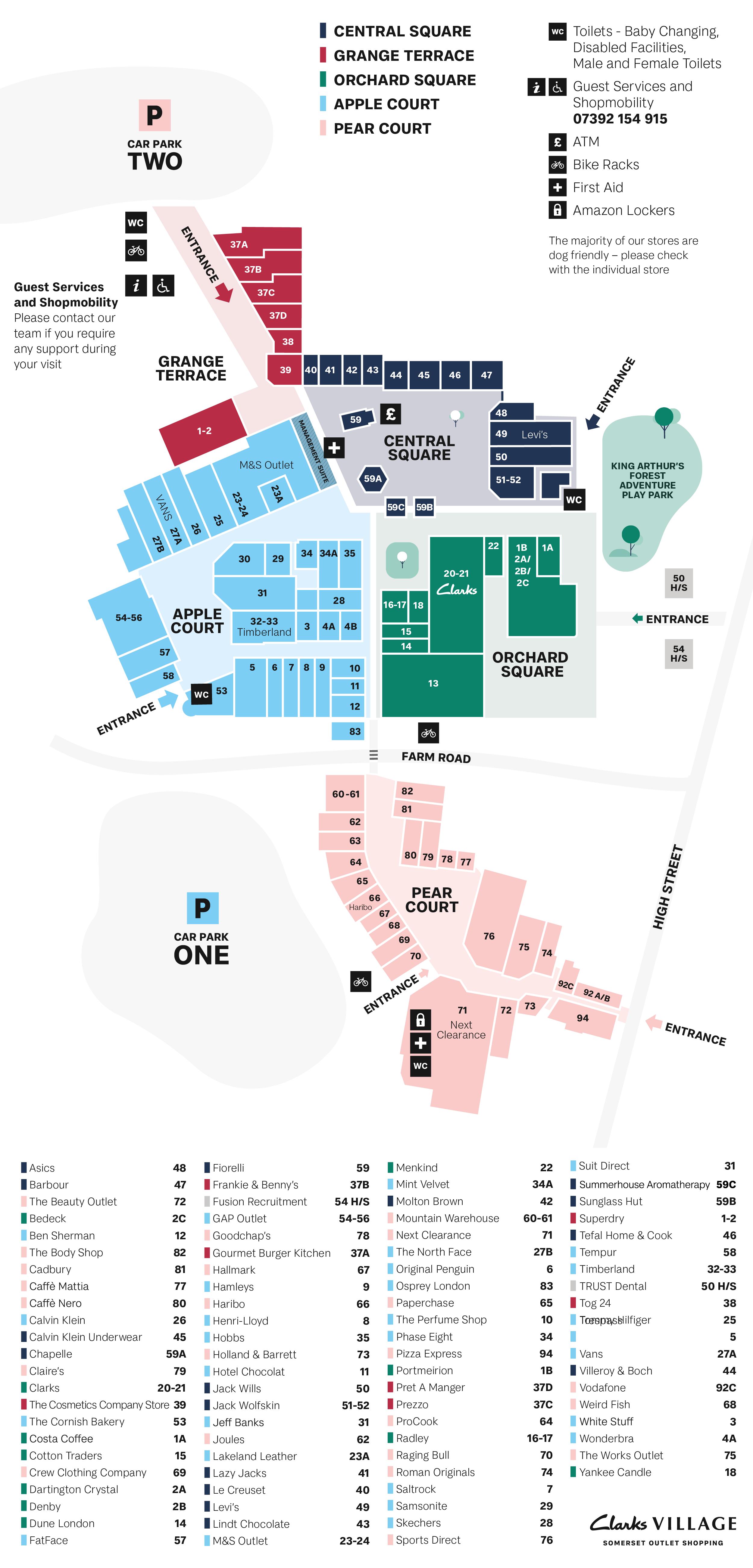 Clarks Village map June 2021