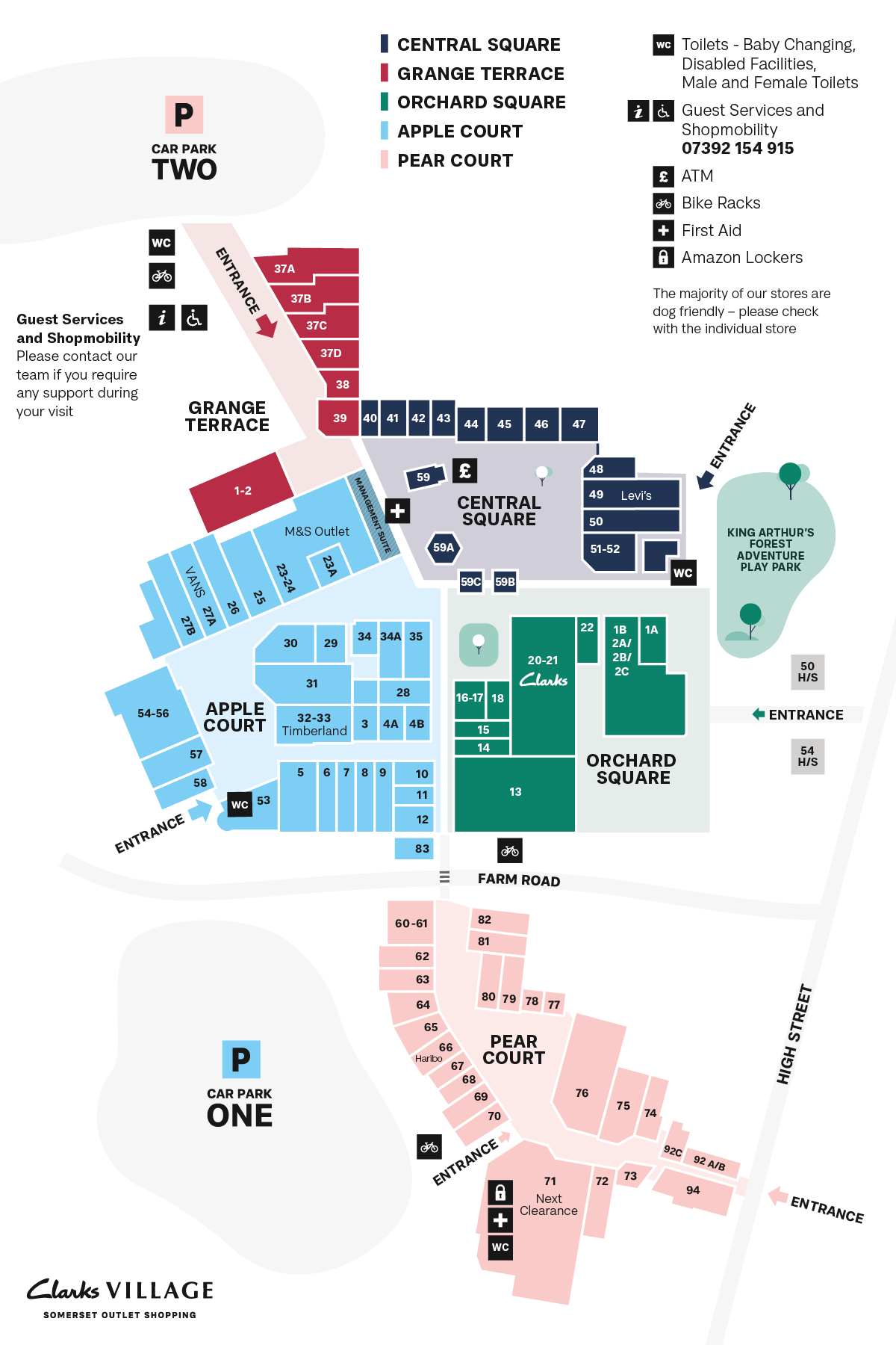 Clarks Village map March 2021