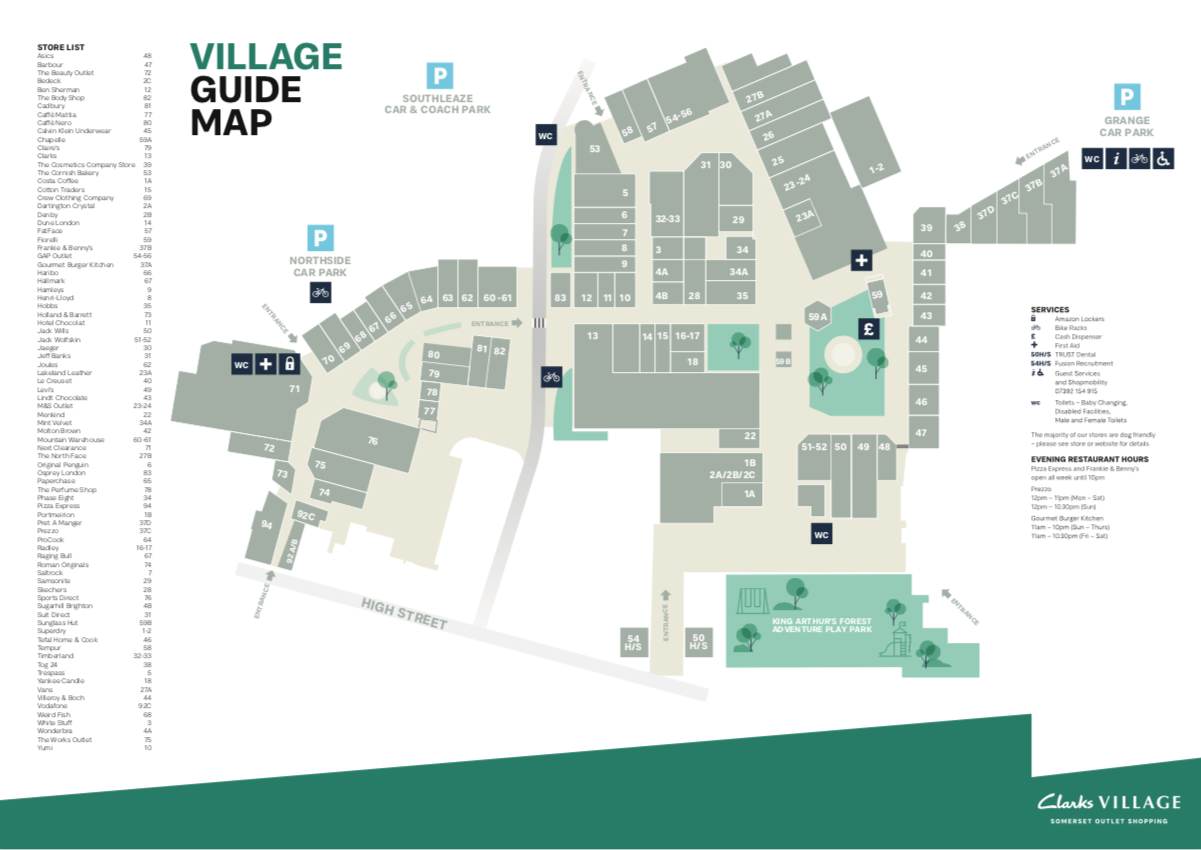 Clarks Village centre map