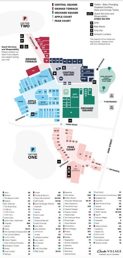 Clarks Village map August 2021